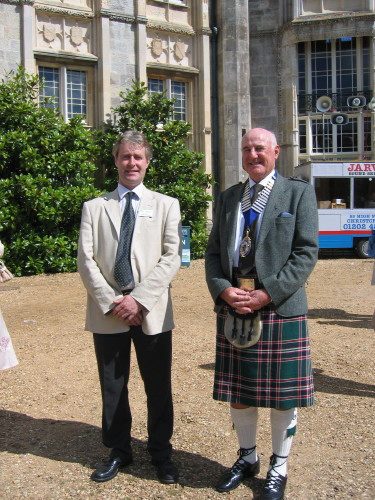 A Past President, Bob Millar, with the Manager of Highcliffe Castle