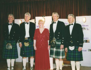 Jan Campbell [an ex President] with her four sons at her 80th birthday party in the Hall
